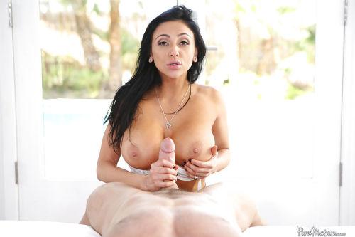 Older brunette Italian lady Audrey Bitoni using big tits to deliver titjob