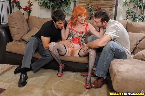 Mature redhead Sasha Brand fucked by two guys and got cum on her pussy