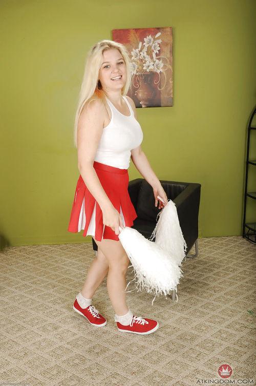 Buxom blonde cheerleader Prudence Pond baring large natural tits