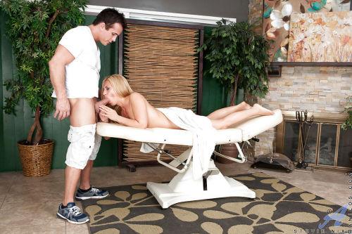 Hot blonde mature Stevie Nix getting a massage that involves fingering
