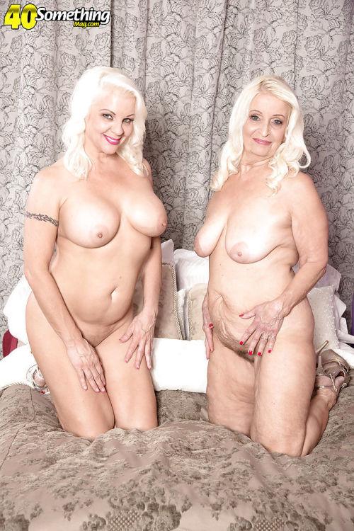 Older lesbians Veronica Vaughn and Vikki Vaughn shedding sexy lingerie - part 2